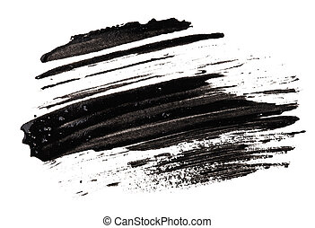 Stroke sample of black mascara, isolated on white macro