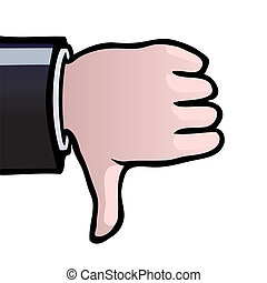 Thumbs down - Hand showing a thumbs down as a sign of...