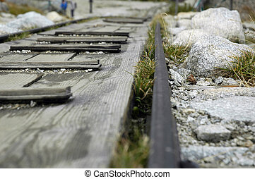 rail road - rails in mountains close up