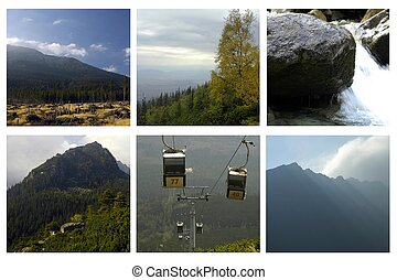 collage of beautiful mountains landscapes