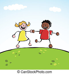 Two kids holding hands - Two kids (boy and girl) holding...