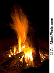 Campfire at Night - Burning Logs in a Fire Pit