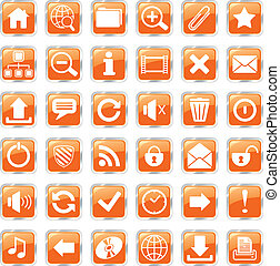web icons orange - set of glossy square vector web icons
