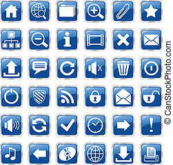 web icons blue - set of glossy square vector web icons