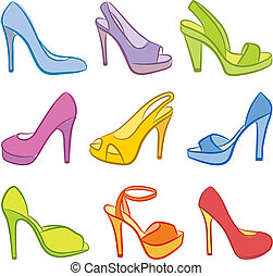 Colorful Shoes. Vector illustration.