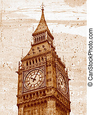 Big Ben - Grunge illustration of the Big Ben Houses of...
