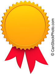 Blank award ribbon golden wirh red