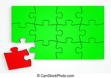 Green Puzzle from the Top - Red Piece Separate - green...