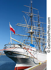 Old sailing ship in Gdynia harbour, Poland
