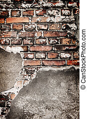 Grunge brick wall texture very old with concrete remains.