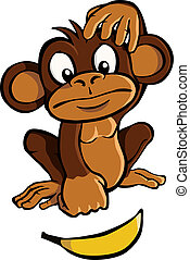 Cartoon monkey with banana - Cartoon monkey looking at a...