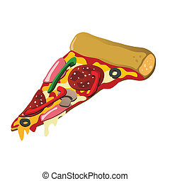 Pizza slice - Delicious pizza slice with various tasty...