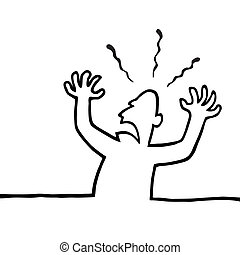 Angry person with his hands in the air - Black line art...