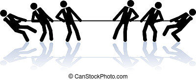 Rope pulling business people - Business stick people in a...