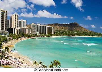 Waikiki Beach and Diamond Head Crater on the Hawaiian island...