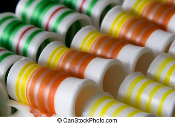 Colorful Ribbon Candy - Three rows of colorful ribbon candy....
