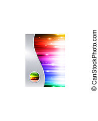 multicolored background in metal frame with glossy button -...