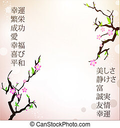 japan motive background with sakura and good wishes