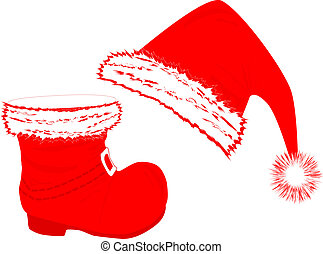 Santa`s hat and boot - Santa`s red hat and boot