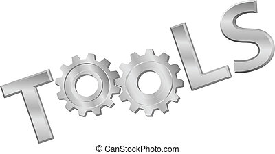 Shiny metal tools technology gear icon word