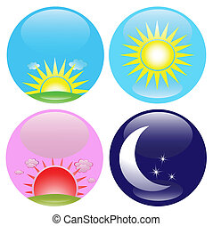 Day and night icons set - Glossy buttons with day, night,...