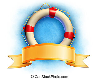 Lifesaver and banner - Lifesaver and an elegant ribbon...