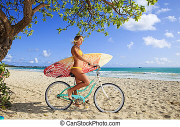 girl on her bicycle with surfboard - beautiful young girl on...