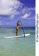 girl in bikini on a paddle board in hawaii