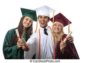 asiático, hombre, dos, mujeres, graduados