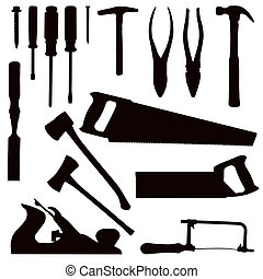Woodwork Tools - Various Isolated Woodwork Tools - black on...