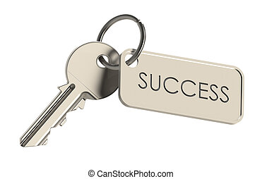 Key to Success - Key on a keyring. Success concept. Isolated...