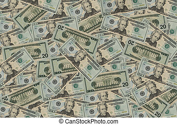 20 Dollar Bill Background - Background with 20 Dollar Bills