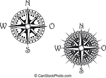Compass symbol - Vintage compass symbols isolated on white...