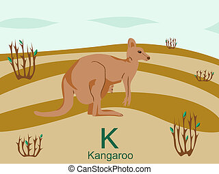 Animal alphabet, K for kangaroo