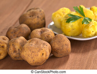 Peruvian yellow potato raw and cooked (Selective Focus,...