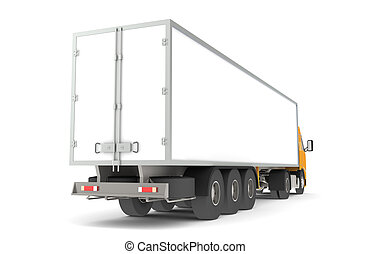 Logistics - Trucking - Rear side view of a Trailer...