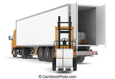 Unloading the Truck - Forklift unloading a trailer with...