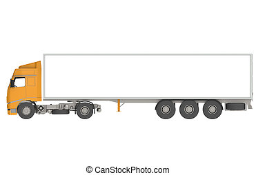 Orange Commercial Truck, Isolated