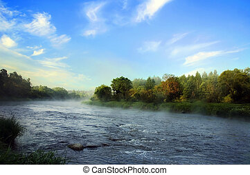 presto, fiume, banca, Mattina