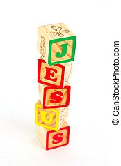 Alphabet Blocks JESUS - Vintage alphabet blocks spelling out...