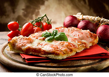 Pizza Margherita - photo of delicious slice of pizza with...