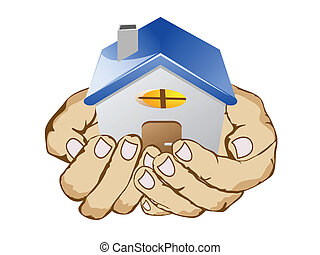 hands holding house on white background