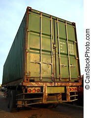 Large Green Shipping Container - A large green shipping...