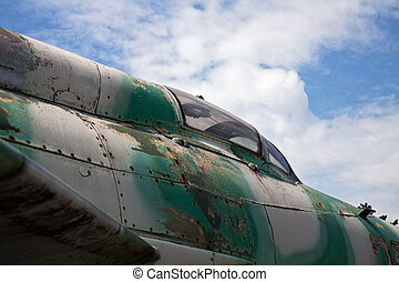 Detail of military aircraft closely