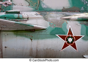 Detail of military aircraft closely - Old military aircraft...