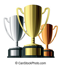 Trophies - Vector illustration of gold, silver and bronze...