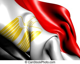 Flag of Egypt against white background. Close up.