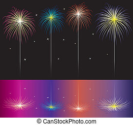 fireworks reflected in water - vector fireworks reflected in...
