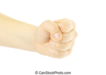 fist - clenched fist isolated on the white