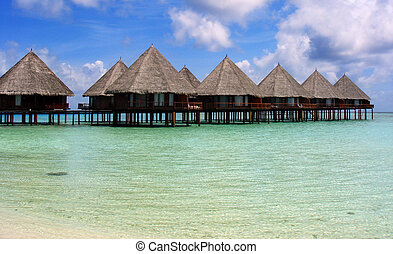 Maldives Village - Village on the water. Landscape in the...
